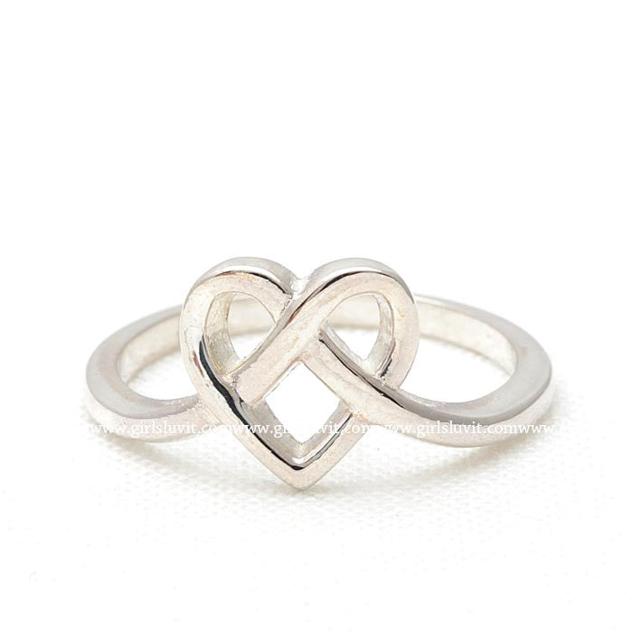 sterling silver, heart knot ring - girlsluv.it  - 1