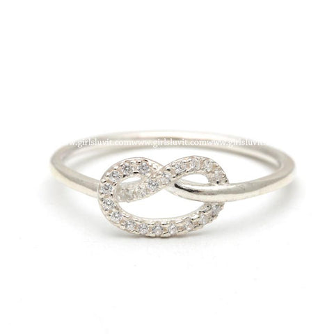 sterling silver, tiny HEART KNOT ring with crystals - girlsluv.it  - 1