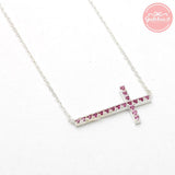 sterling silver, sideways cross necklace, pink crystals - girlsluv.it  - 1