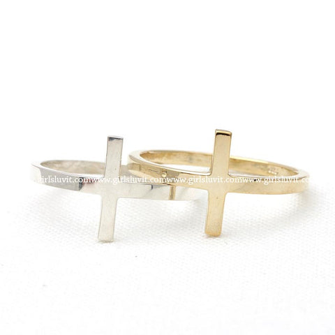 sterling silver, SIDEWAYS CROSS ring 2 colors - girlsluv.it  - 1