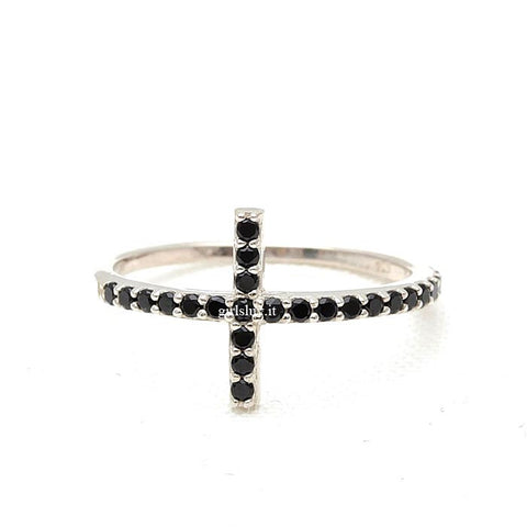 sterling silver, sideways cross ring with black crystals - girlsluv.it