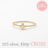 sterling silver tiny CROSS ring with twisted band, 2 colors - girlsluv.it  - 1