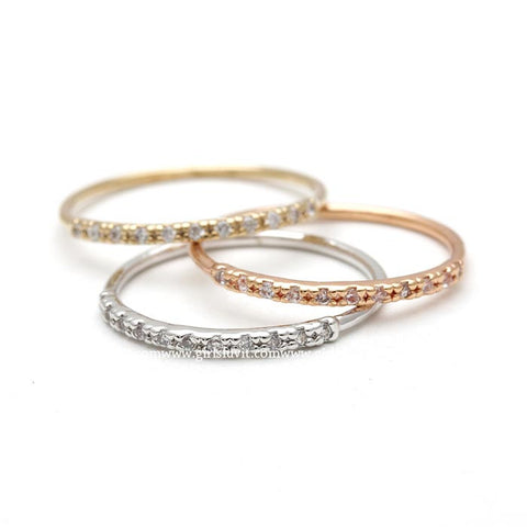 sterling silver, simple band with half crystals - girlsluv.it