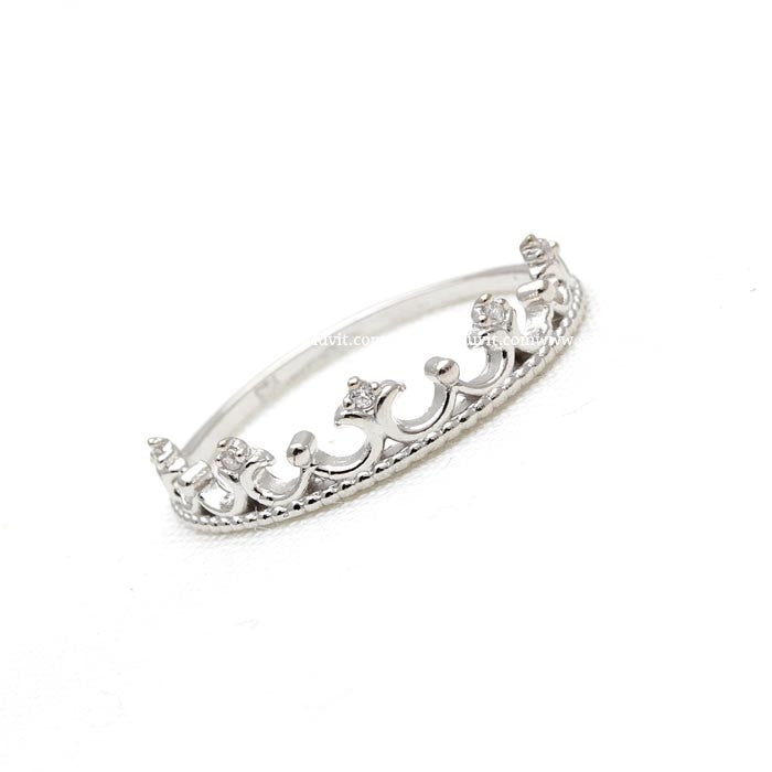 sterling silver, tiara ring, crystals - girlsluv.it  - 1