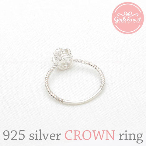 sterling silver, tiny CROWN ring with crystals - girlsluv.it  - 1