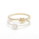 sterling silver tiny STAR with twisted band, 2 colors - girlsluv.it  - 1