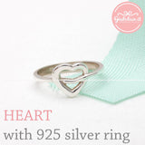 sterling silver, band ring, heart - girlsluv.it  - 3