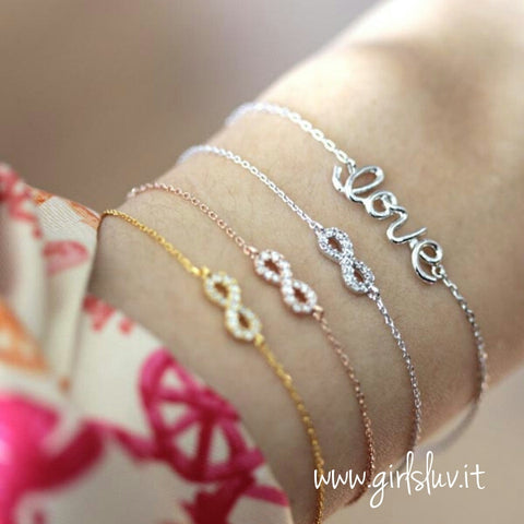 sterling silver, infinity bracelet - girlsluv.it