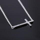 sideways cross necklace, crystals - girlsluv.it  - 1