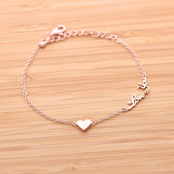 tiny HEART & love you bracelet, 3colors - girlsluv.it  - 1
