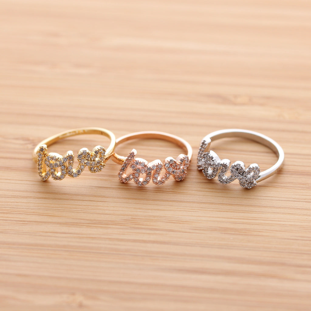 LOVE ring with crystals, in pinkgold - girlsluv.it  - 1