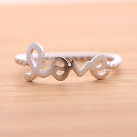 LOVE ring with twisted band, in silver (plated or sterling) - girlsluv.it  - 1