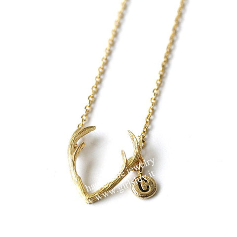 Girlsluvit, Antler Necklace with Initial, 2 Colors