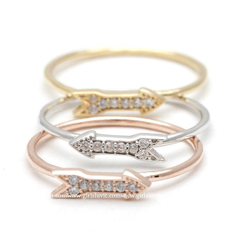 arrow ring, crystals - girlsluv.it  - 1