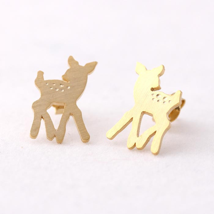 cute bambi stud earrings in gold - girlsluv.it