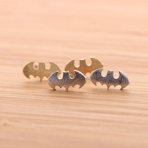 brushed BATMAN stud earrings, 3 colors - girlsluv.it  - 1