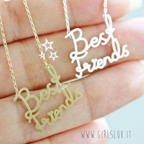 best friends necklace, handwritten - girlsluv.it