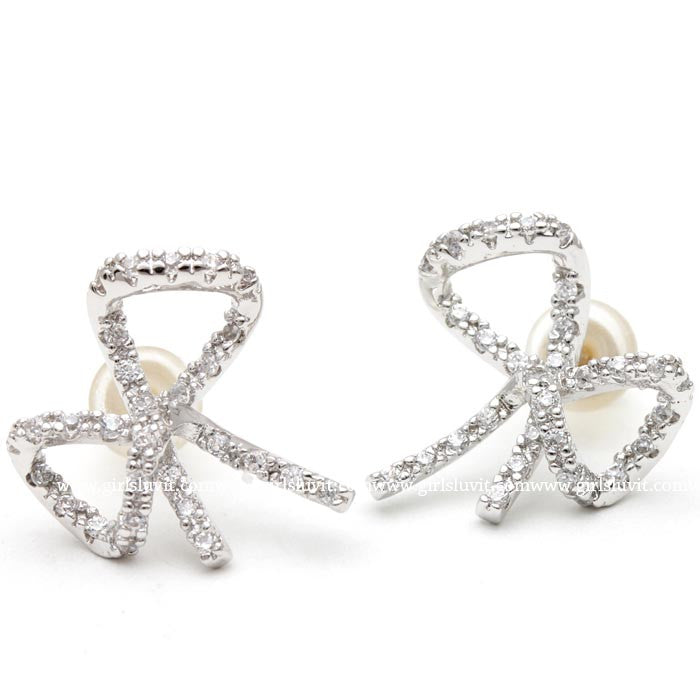 big ribbon earrings, crystals - girlsluv.it  - 1
