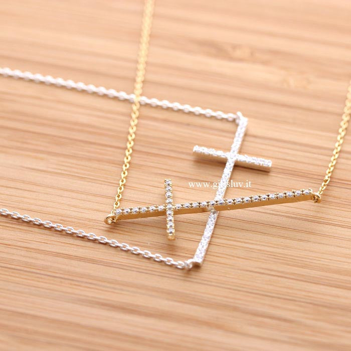 big sideways cross necklace, crystals - girlsluv.it  - 1