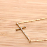 big sideways cross necklace, crystals - girlsluv.it  - 2