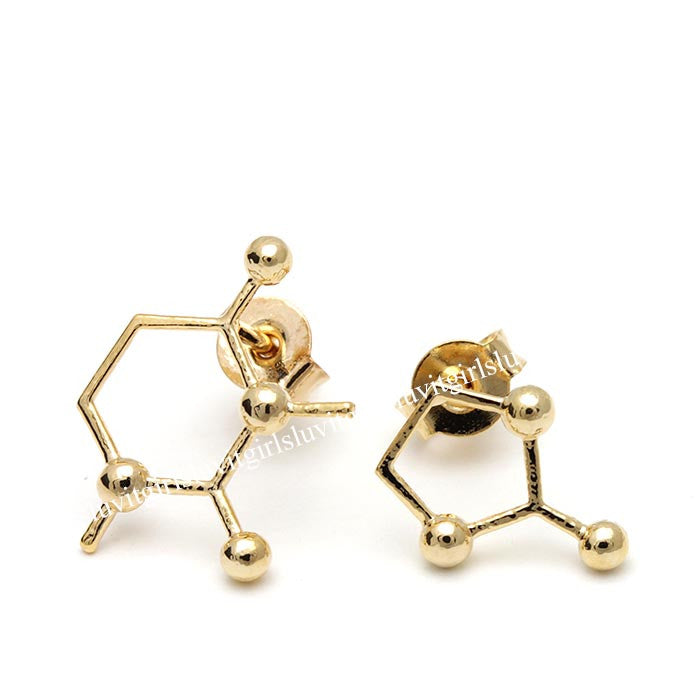 caffeine molecule earrings - girlsluv.it