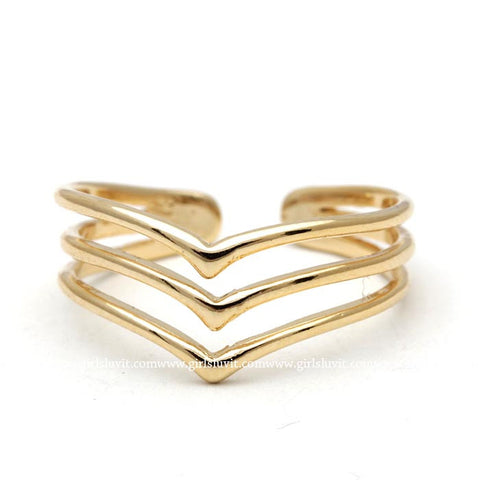 chevron ring, adjustable - girlsluv.it  - 1