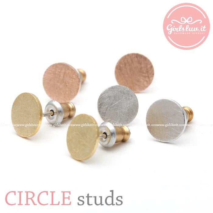 simple CIRCLE stud earrings, 3 colors - girlsluv.it
