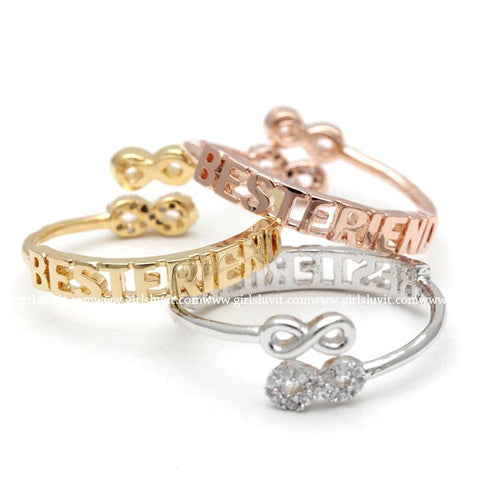 best friends infinity ring, adjustable - girlsluv.it  - 1