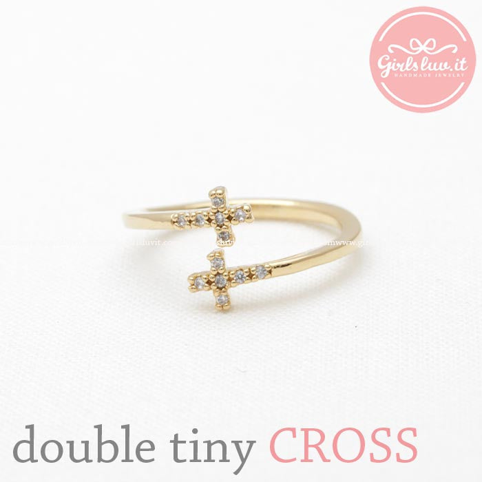 double tiny CROSS ring with crystals, 2 colors - girlsluv.it  - 1