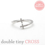 double tiny CROSS ring with crystals, 2 colors - girlsluv.it  - 2