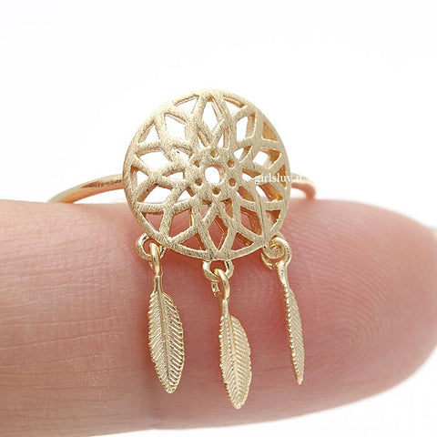 dream catcher ring, adjustable - girlsluv.it