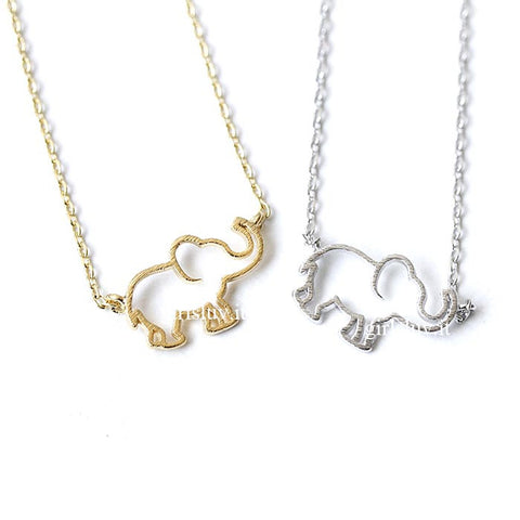 Outline Elephant Necklace, 2 Colors