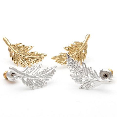 FEATHER stud earrings, 2 colors - girlsluv.it