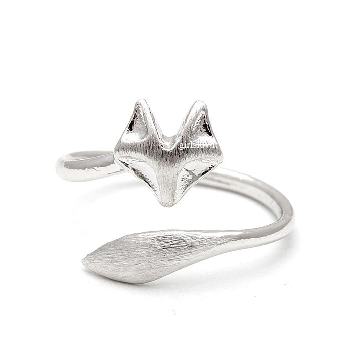sterling silver, fox ring, adjustable - girlsluv.it