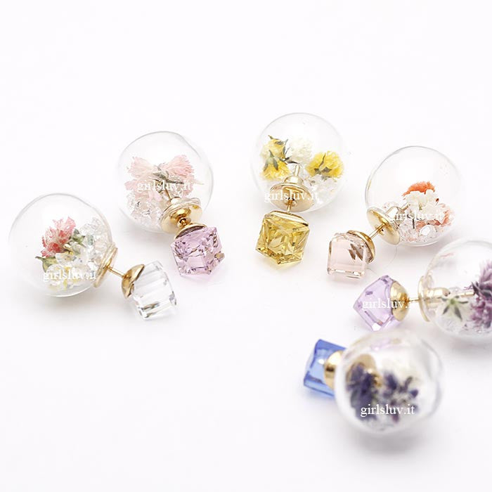 real dried flowers, front and back earrings - girlsluv.it  - 1