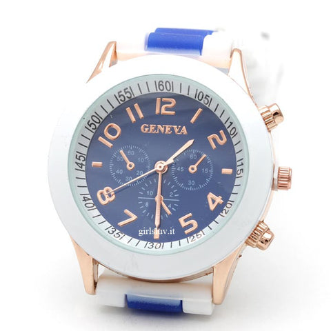 stripe jelly watch, blue - girlsluv.it