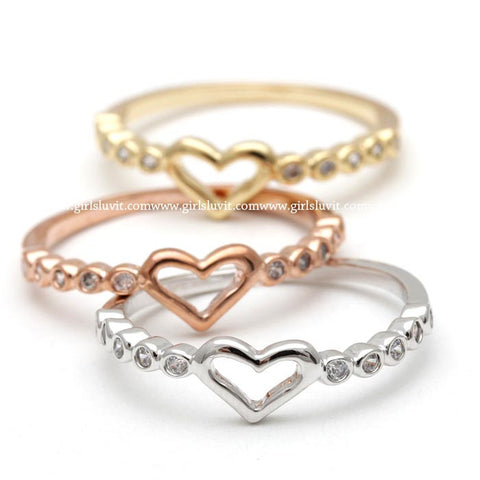 heart ring with crystals decorated - girlsluv.it  - 1