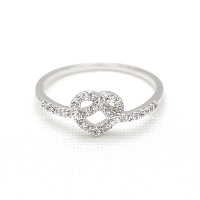 heart knot ring, crystals - girlsluv.it  - 1