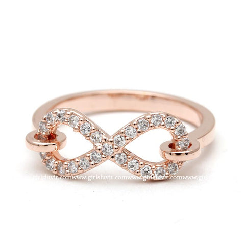 hooked infinity ring, crystals in pinkgold - girlsluv.it