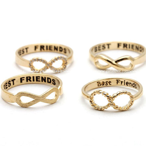 best friends infinity ring in gold - girlsluv.it