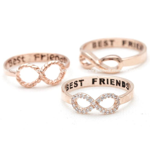 best friends infinity ring in pinkgold - girlsluv.it  - 1