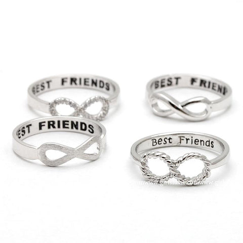 best friends infinity ring in silver - girlsluv.it