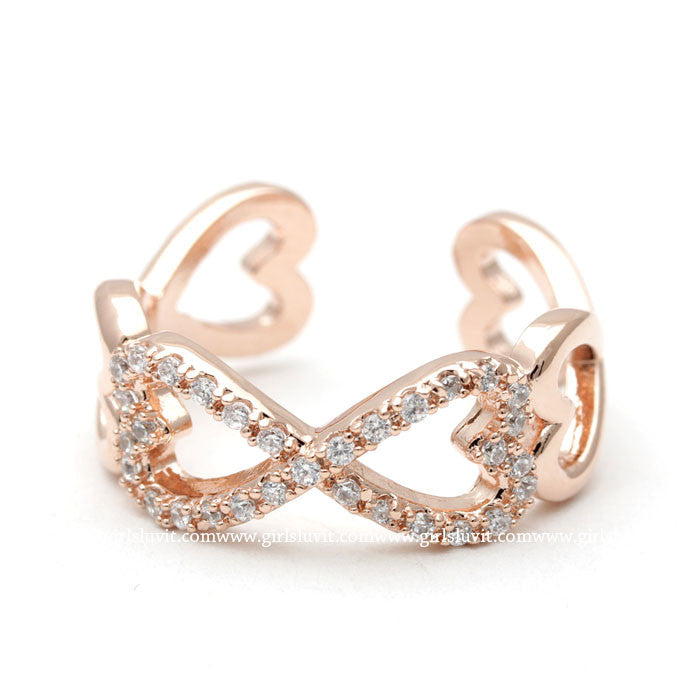 infinity heart ring, in pinkgold - girlsluv.it