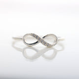 sterling silver, infinity ring, half crystals - girlsluv.it  - 2