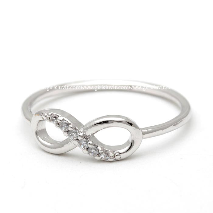 sterling silver, infinity ring, half crystals - girlsluv.it  - 1