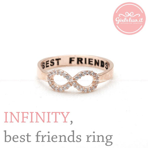 best friends infinity ring, pink crystals - girlsluv.it