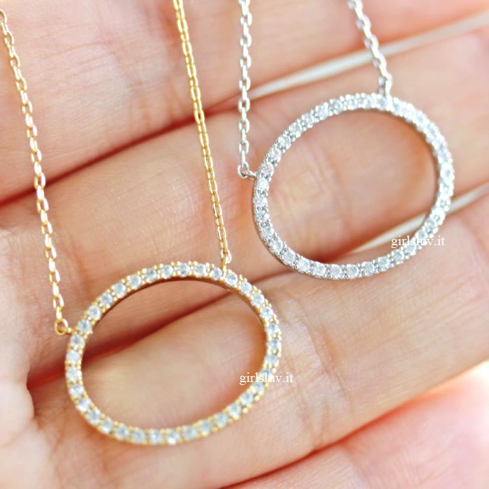 circle necklace, crystals - girlsluv.it  - 1