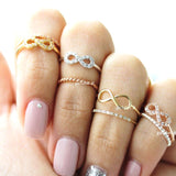 infinity knuckle ring, crystals - girlsluv.it  - 1
