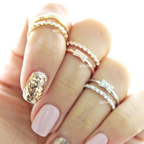ribbon knuckle ring, crystals - girlsluv.it  - 1