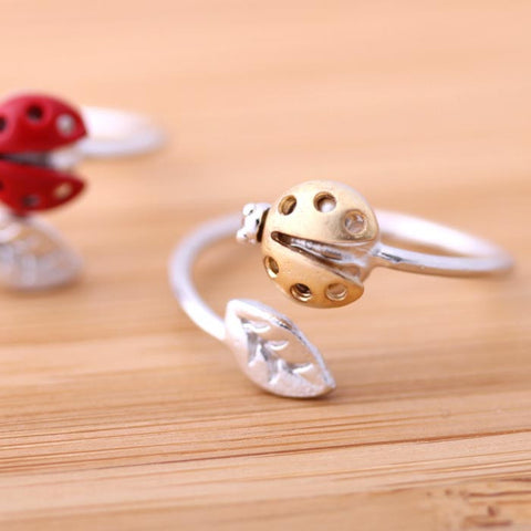 gold ladybug leaf ring, adjustable - girlsluv.it  - 1